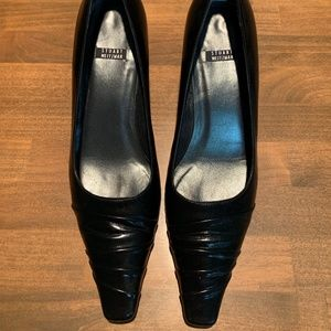 Stuart Weitzman Black Leather Kitten Heels